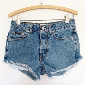 Vintage Calvin Klein high rise cut off jean shorts